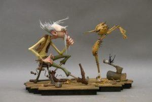 Maquette de Gepetto et Pinocchio